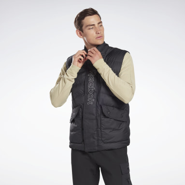 Men Outdoor Black Outerwear Puffa Vest