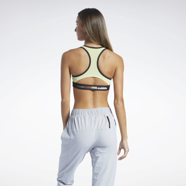 Women Pilates Yellow Les Mills® Lux Racer Padded Sports Bra