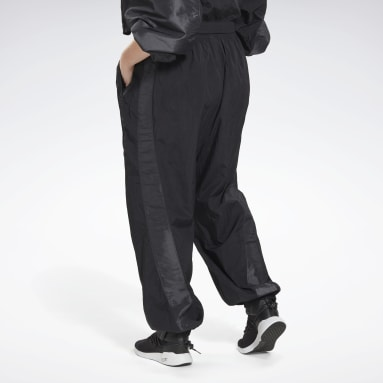 Women Dance Black Studio Woven Tracksuit Bottoms (Plus Size)