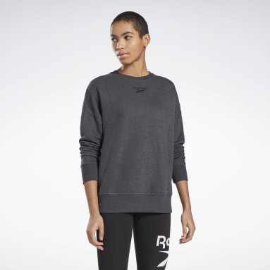 Women Fitness & Training Black Textured Crew Sweatshirt