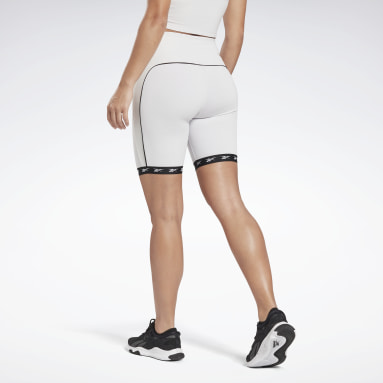 Women Cycling White Studio Bike High-Intensity Shorts