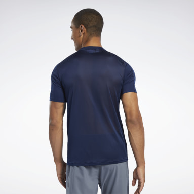 Mænd Hiking Blue Workout Ready Polyester Tech Tee
