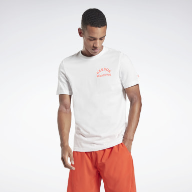 T-shirt haltérophilie Reebok Blanc Hommes Cross Training
