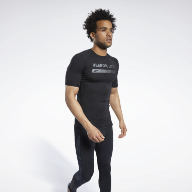 Men Trail Running Black Compression Graphic Short Sleeve Tee