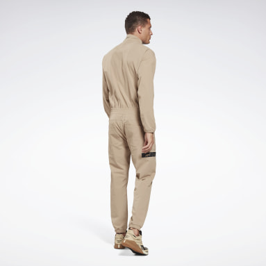 Men Fitness & Training Beige Woven Jumpsuit
