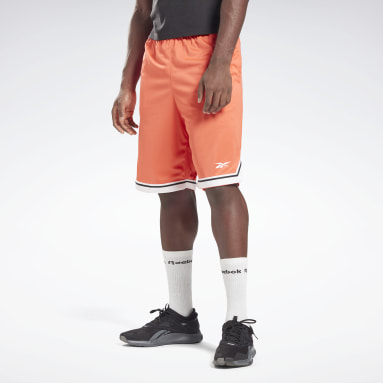 Men Basketball Orange Workout Ready Mesh Shorts