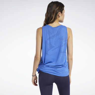Women Fitness & Training Blue Burnout Tank Top