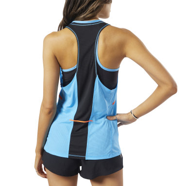 Women Running Blue Boston Track Club Singlet