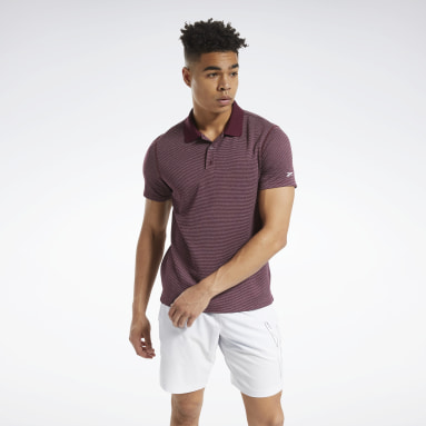 Men Training Burgundy Workout Ready Striped Polo Shirt