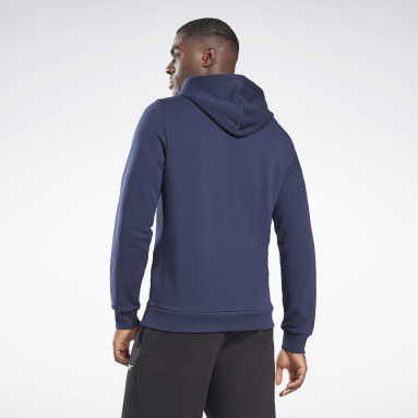 Men Training Blue Reebok Identity Big Logo Hoodie