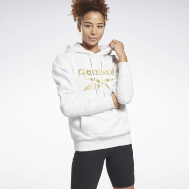 Frauen Fitness & Training Reebok Identity Logo Fleece Hoodie Weiß