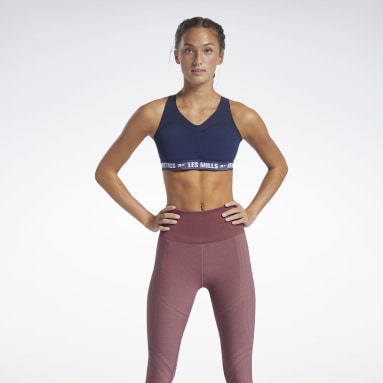 Women Pilates Blue Les Mills® PureMove Plus Sports Bra Motion Sense ™