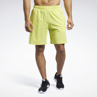 Men Cross Training Yellow Reebok CrossFit® Austin II Solid Shorts