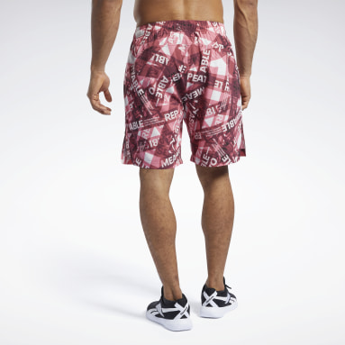 Men CrossFit Burgundy Reebok CrossFit® Austin II Taped Print Shorts