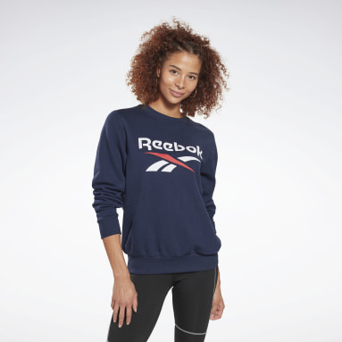 Women Fitness & Training Blue Reebok Identity Logo French Terry Crew Sweatshirt