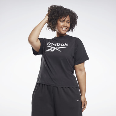 Women Training Black Reebok Identity Cropped T-Shirt (Plus Size)