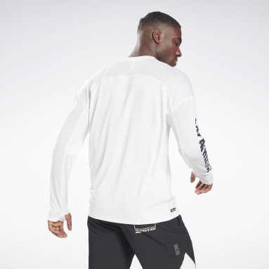 Men Pilates White Les Mills® Long Sleeve T-Shirt