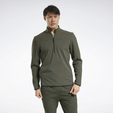 Men Hiking Green Thermowarm Deltapeak Quarter-Zip Sweatshirt