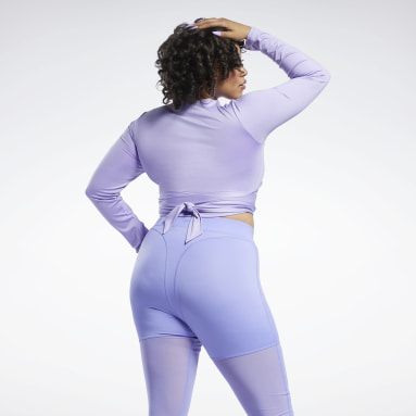 Women Classics Purple Cardi B Long-Sleeve Top Crop Top (Plus Size)