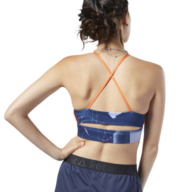 Top deportivo de bajo impacto Workout Ready Tri-Back Azul Mujer Fitness & Training