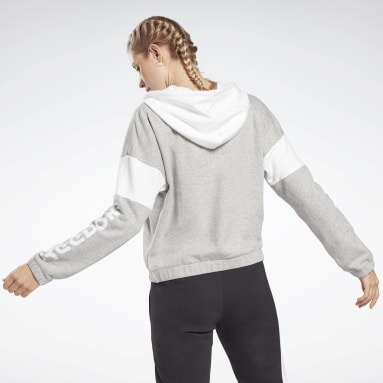 Felpa con cappuccio Linear Logo French Terry Zip Up Grigio Donna Fitness & Training