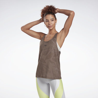 Women Cycling Grey Perforated Tank Top