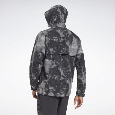 Men Hiking Black Printed Utility Jacket