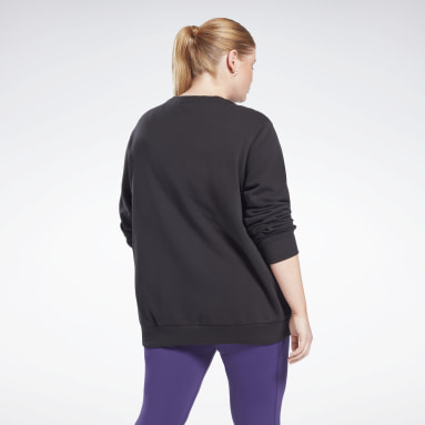 Women Fitness & Training Black Reebok Identity Logo French Terry Crew Sweatshirt (Plus Size)