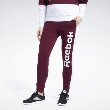Women Fitness & Training Burgundy Training Essentials Linear Logo Pants