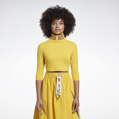 Women Classics Yellow Reebok by Pyer Moss Embroidered Cropped Mock Neck Sweatshirt