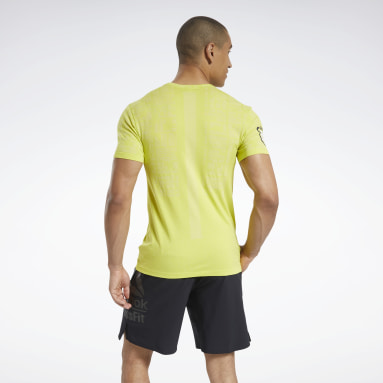 Men Cross Training Yellow Reebok CrossFit® Games MyoKnit T-Shirt