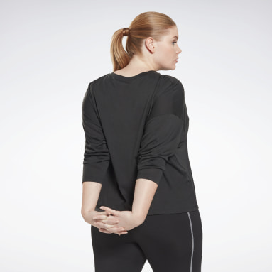 Dam Vandring Svart Workout Ready Supremium Long Sleeve T-Shirt (Plus Size)