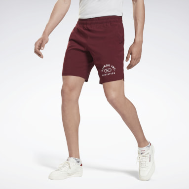 Men HIIT Burgundy Workout Ready Graphic Shorts