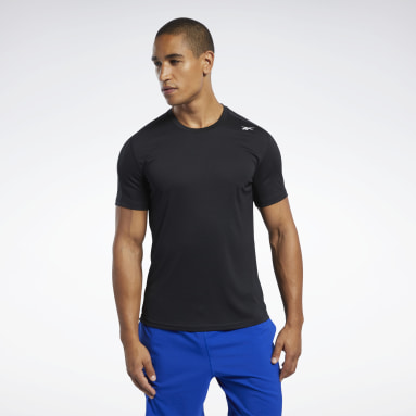 Men Hiking Black Workout Ready Polyester Tech Tee