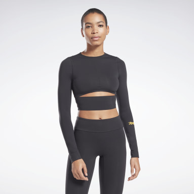 Women Fitness & Training Black VB Logo Long Sleeve Crop Top