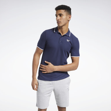 Men Fitness & Training Blue Training Essentials Polo Shirt