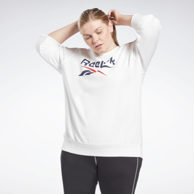 Women Fitness & Training White Reebok Identity Logo French Terry Crew Sweatshirt (Plus Size)