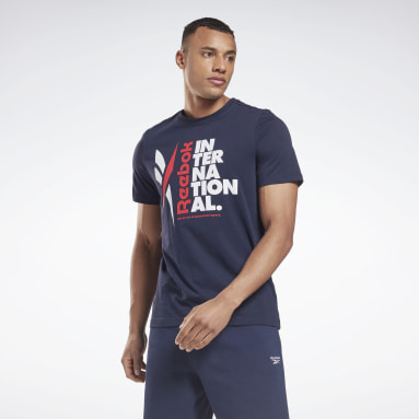 Men Fitness & Training Blue Verbiage Graphic T-Shirt
