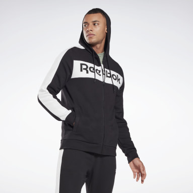 Men Fitness & Training Black Training Essentials Linear Logo Zip-Up Hoodie