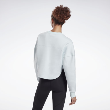 Women Pilates Blue DreamBlend Cotton Midlayer Sweatshirt