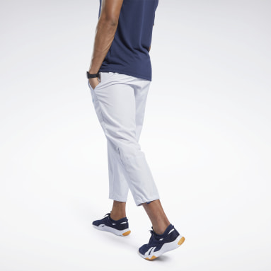 Men Training White Woven Pants