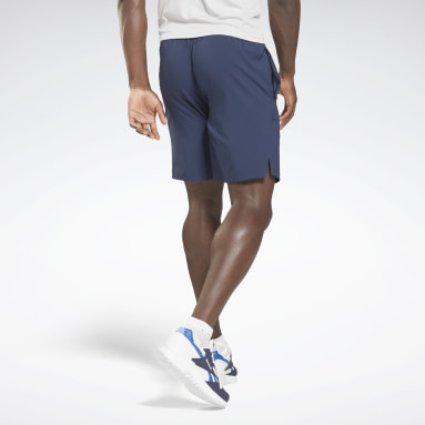 Men HIIT Blue Workout Ready Graphic Shorts