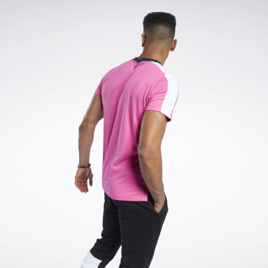 Polera TE LL SS Graphic Rosado Hombre Fitness & Training