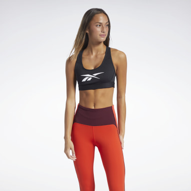 Women Pilates Black Reebok Lux Racer Medium-Impact Sports Bra