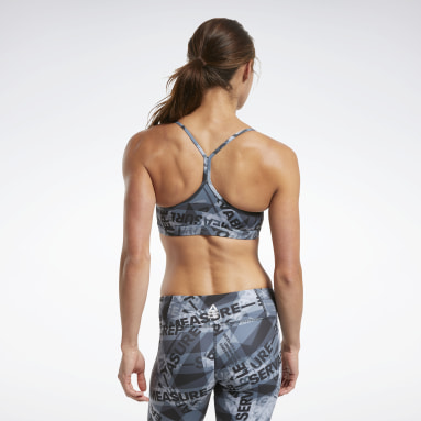 Women Cross Training Black Reebok CrossFit® Skinny Strap Medium-Impact Taped Print Bra