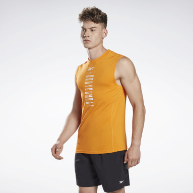 Männer Studio LES MILLS® BODYCOMBAT® Muscle Sleeveless Shirt Orange