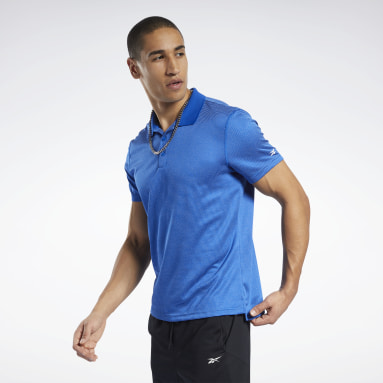 Men Training Blue Workout Ready Striped Polo Shirt