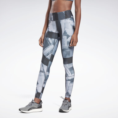 Women Cross Training Black Reebok Lux Bold Printed Leggings