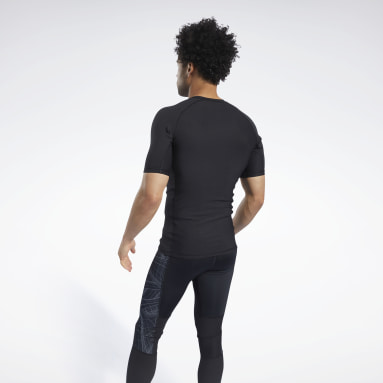 Men Trail Running Black Compression Printed Short Sleeve Tee