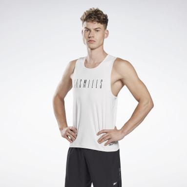Men Cycling White LES MILLS® ACTIVCHILL Sleeveless T-Shirt